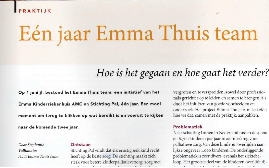 Één jaar Emma Thuis team